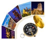 Det Lissabon Portugal loppet avbildar min foto och kompass royaltyfri bild