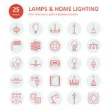 Det ljusa fasta tillbehöret, lampor sänker linjen symboler Hem- och utomhus- belysningsutrustning - ljuskrona, vägglampett, skriv stock illustrationer