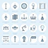 Det ljusa fasta tillbehöret, lampor sänker linjen symboler Hem- och utomhus- belysningsutrustning - ljuskrona, vägglampett, skriv royaltyfri illustrationer