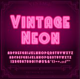 Det ljusa neonalfabetet märker, nummer, och symboler undertecknar in vektorn Nattshow Nattklubb stock illustrationer