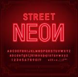 Det ljusa neonalfabetet märker, nummer, och symboler undertecknar in vektorn Nattshow Nattklubb vektor illustrationer