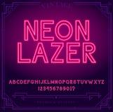 Det ljusa neonalfabetet märker, nummer, och symboler undertecknar in vektorn Nattshow Nattklubb royaltyfri illustrationer