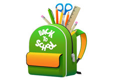 Det ljust - grön gul ryggsäck för den isolerade skolan Arkivbild
