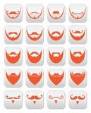Det ljust rödbrun skägget med mustasch- eller mustaschvektorsymboler ställde in Fotografering för Bildbyråer