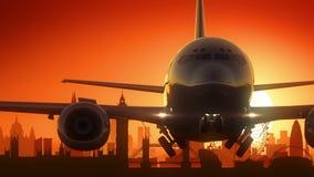 Det London flygplanet tar av guld- stock illustrationer