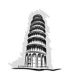 Det lutande tornet Pisa, skissar vektorn Arkivfoto