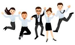 Det lyckliga affärsfolket bildar i regeringsställning banhoppningen som firar seger royaltyfri illustrationer