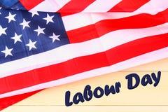 Det lyckliga banret för den arbets- dagen, amerikansk patriotisk bakgrund, text på Amerikas förenta stater sjunker Royaltyfri Fotografi