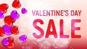 Det lyckliga banret för försäljningen för dagen för valentin` s med röda och rosa hjärtor och ljus blossar Royaltyfria Foton