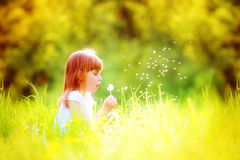 Det lyckliga barnet som blåser maskrosen i vår, parkerar utomhus arkivbilder