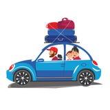 Det lyckliga familjloppet i en bil familjen går ut ur staden för en tid för turism och för semester för ferie för sommar för seme royaltyfri illustrationer