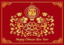 Det lyckliga kinesiska kortet för det nya året är guld- kinesisk ordmedellycka i lykta- och koifisk- och lotusblommavektordesign stock illustrationer