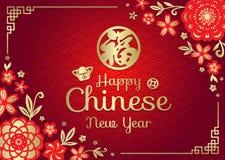 Det lyckliga kinesiska kortet för det nya året med bra förmögenhet för kinesiskt ordmedel i vektor för konst för ram för porslin  vektor illustrationer