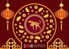 Det lyckliga kinesiska kortet för nytt år 2018 är kinesisk lykta- och hundzodiak i cirkelramdörren, kinesisk för vektordesign för stock illustrationer