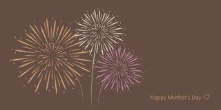 Det lyckliga kortet för hälsningen för dagen för moder` s blommar vektor illustrationer