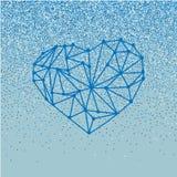 Det lyckliga kortet för hälsningen för valentindagförälskelse med geometrisk hjärta på blå bakgrund med att falla blänker effekt Arkivbild