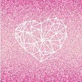 Det lyckliga kortet för hälsningen för valentindagförälskelse med geometrisk hjärta på rosa bakgrund med karmosinrött blänker eff Fotografering för Bildbyråer