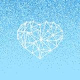 Det lyckliga kortet för hälsningen för valentindagförälskelse med geomtric hjärta på blå bakgrund med blänker effekt Arkivbilder