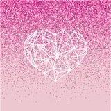 Det lyckliga kortet för hälsningen för valentindagförälskelse med geomtric hjärta på rosa bakgrund med blänker effekt Royaltyfri Foto