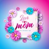 Det lyckliga kortet för hälsningen för moderdagen med blomman och älskar dig typografiska beståndsdelar för mamman på rosa bakgru royaltyfri illustrationer