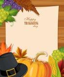 Det lyckliga kortet för tacksägelsedaghälsningen med pumpor, vallfärdar hatten, bokstaven och kalkon Arkivfoto