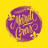 Det lyckliga Mardi Gras hälsningkortet med backgroud för cirkelborsteslaglängden och calligraphic bokstävertext planlägger stock illustrationer
