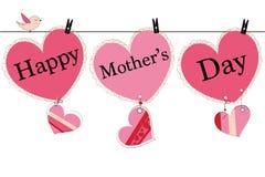 Det lyckliga mors daghälsningkortet med hängande hjärta och jag älskar dig textvektorbakgrund Royaltyfri Fotografi