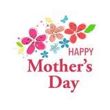 Det lyckliga mors daghälsningkortet med hängande hjärta och jag älskar dig textvektorbakgrund Fotografering för Bildbyråer