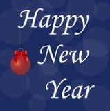 Det lyckliga nya året för inskrift på mörker - blå bakgrund Royaltyfri Bild
