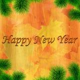 Det lyckliga nya året gjorde text med trä Royaltyfri Foto