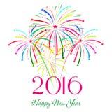 Det lyckliga nya året 2016 med fyrverkerier semestrar bakgrund Arkivbilder