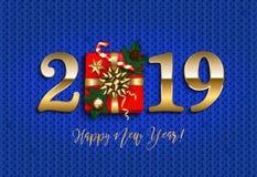 Det lyckliga nya året 2019 med gåvan, sörjer filialen, blå stucken backgro arkivbilder