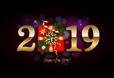 Det lyckliga nya året 2019 med gåvan, sörjer filialen, på mörk bokehbackgr royaltyfria bilder
