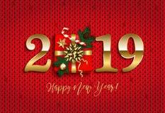 Det lyckliga nya året 2019 med gåvan, sörjer filialen, röd stucken backgrou royaltyfri bild