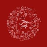 Det lyckliga nya året och julkortet med handen drar Arkivbild