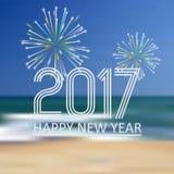Det lyckliga nya året 2017 på blått sätter på land som abstrakt färgbakgrund med fyrverkerier eps10 stock illustrationer