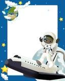 Det lyckliga och roliga lynnet för utrymmeresan - - illustration för barnen Arkivfoton