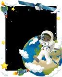 Det lyckliga och roliga lynnet för utrymmeresan - - illustration för barnen Arkivfoto