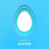 Det lyckliga påskhälsningkortet av äggpapperssnittet för påskjakt på blått färgar bakgrund för feriepapercutmodellen Arkivbild