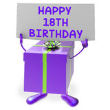 Det lyckliga 18th den födelsedagtecknet och gåvan visar artonde Royaltyfri Fotografi
