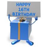 Det lyckliga 16th den födelsedagtecknet och gåvan visar sextonde Arkivfoto