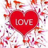 Det lyckliga valentins dagkortet, design med den färgrika vattenfärgen bläckar ner Royaltyfria Bilder