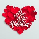Det lyckliga valentins dagkortet, röda hjärtor och är min valentinbokstäver Arkivbild