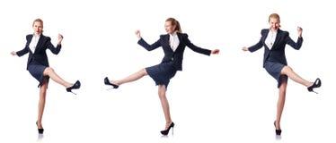 Det lyckligt för affärskvinna som isoleras på vit Royaltyfri Foto