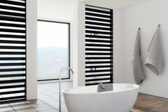 Det lyxiga vit- och svartbadrummet, badar, sid Royaltyfri Bild