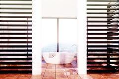 Det lyxiga vit- och svartbadrummet, vit badar tonat Royaltyfria Bilder