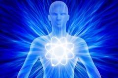 Det mänskliga diagramet med energi rays runt om hans kropp royaltyfri illustrationer