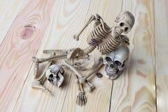Det mänskliga skalle- och människaskelettet sörjer på träbakgrund Arkivfoton