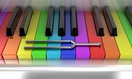 Det mångfärgade pianot Fotografering för Bildbyråer