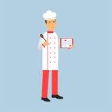 Det manliga kockkockteckenet i enhetligt anseende och det hållande receptet bokar och skedar illustrationen stock illustrationer